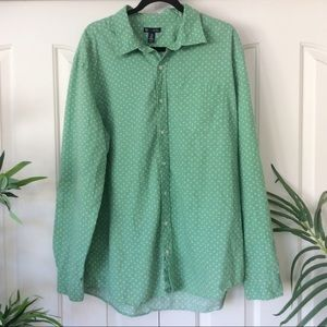 Gap XXL Green Palm Trees Button Down Shirt